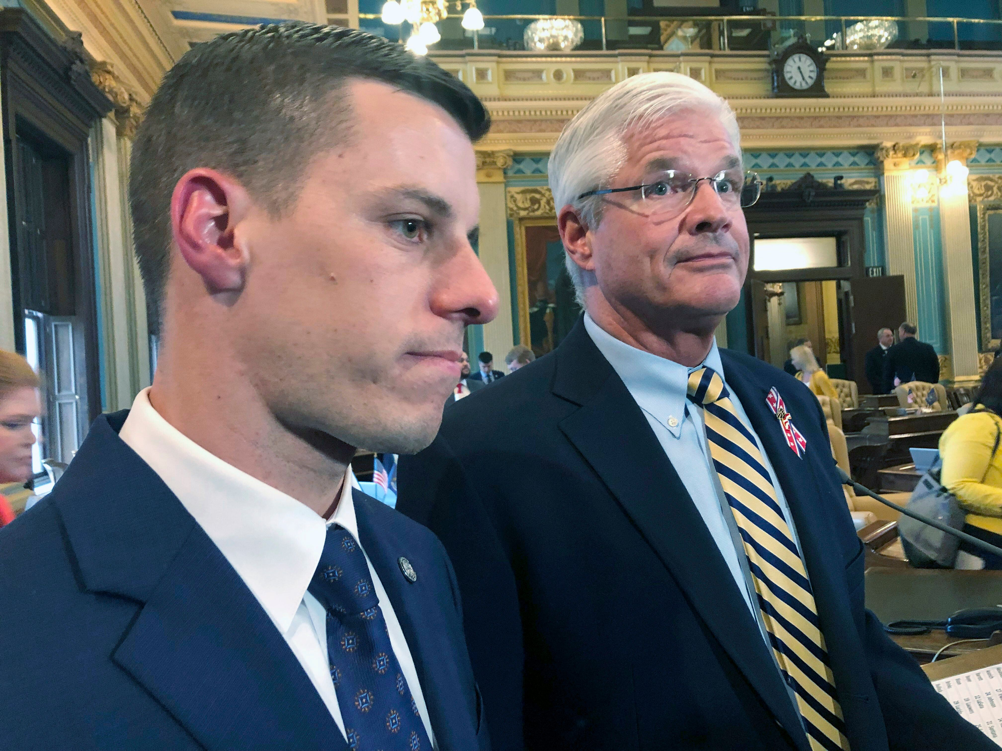 FILE - In this May 24, 2019 file photo, Republican House Speaker Lee Chatfield, left, and Republican Senate Majority Leader M