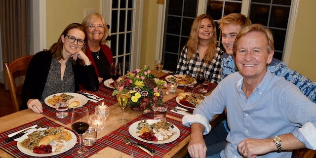 The Doocy family around the table at Thanksgiving.