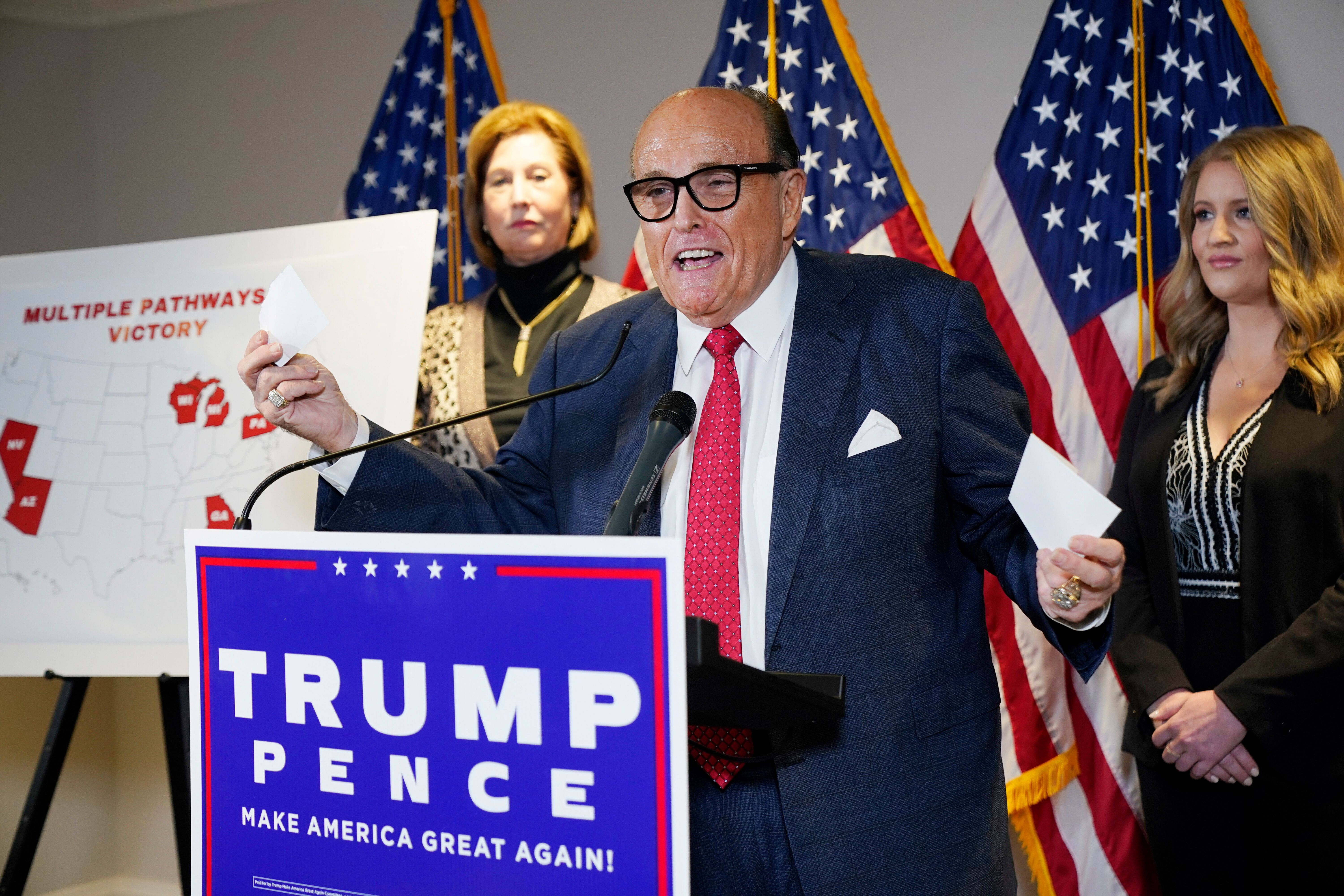Former Mayor of New York Rudy Giuliani, a lawyer for President Donald Trump, speaks during a news conference at the Republica