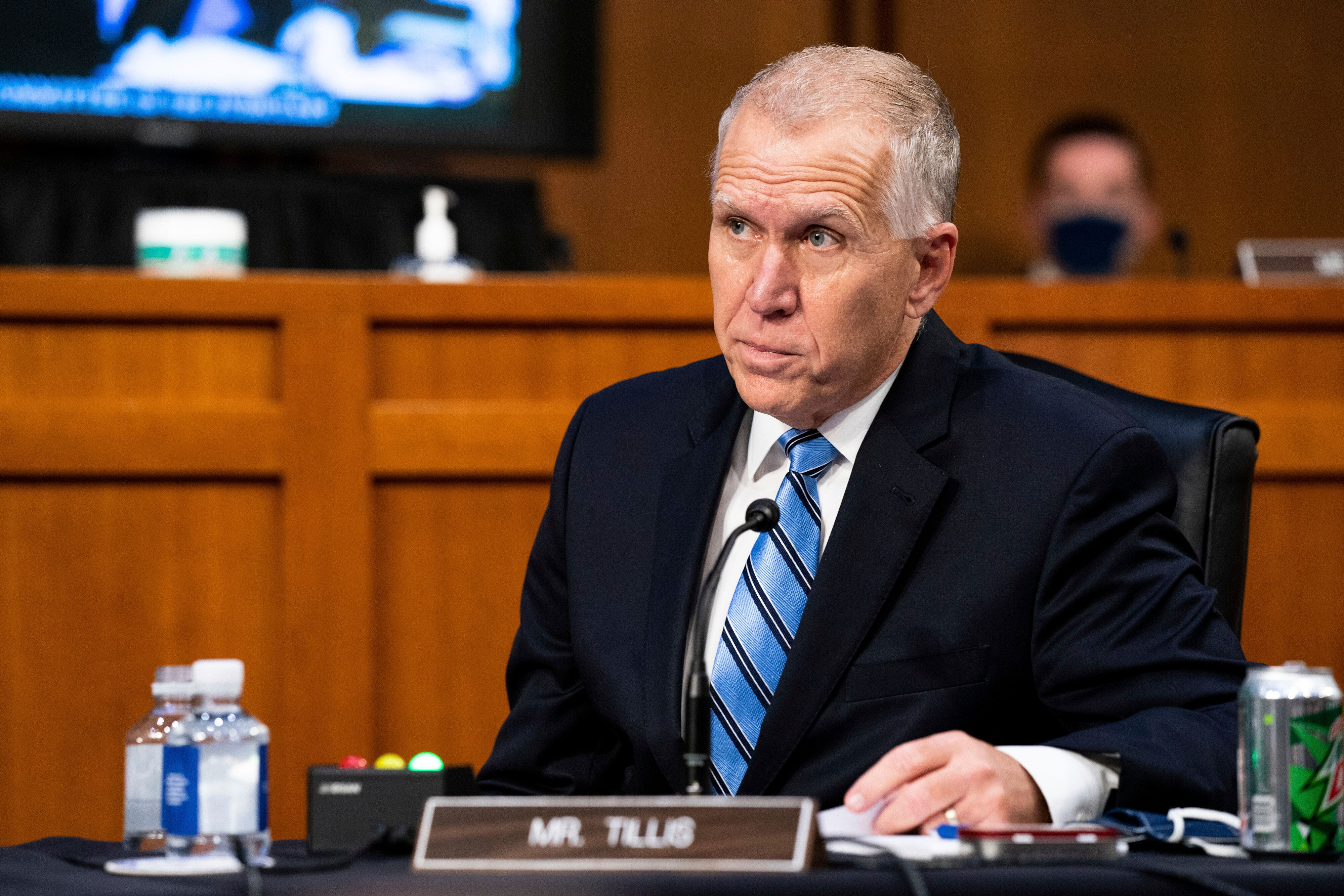 """Sen. Thom Tillis (R-N.C.) said he """"believes a bipartisan compromise should include extended unemployment benefits at a level"""