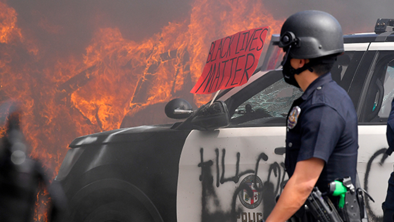 LAPD squad cars vandalized as police officers push back protesters near Beverly Hills