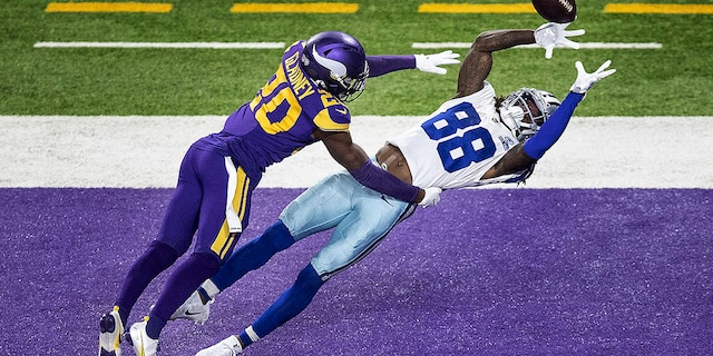 Dallas Cowboys wide receiver CeeDee Lamb (88) pulls down a second-quarter touchdown catch over Minnesota Vikings cornerback Jeff Gladney (20) during an NFL football game in Minneapolis, Sunday, Nov. 22, 2020. ( Jerry Holt/Star Tribune via AP)