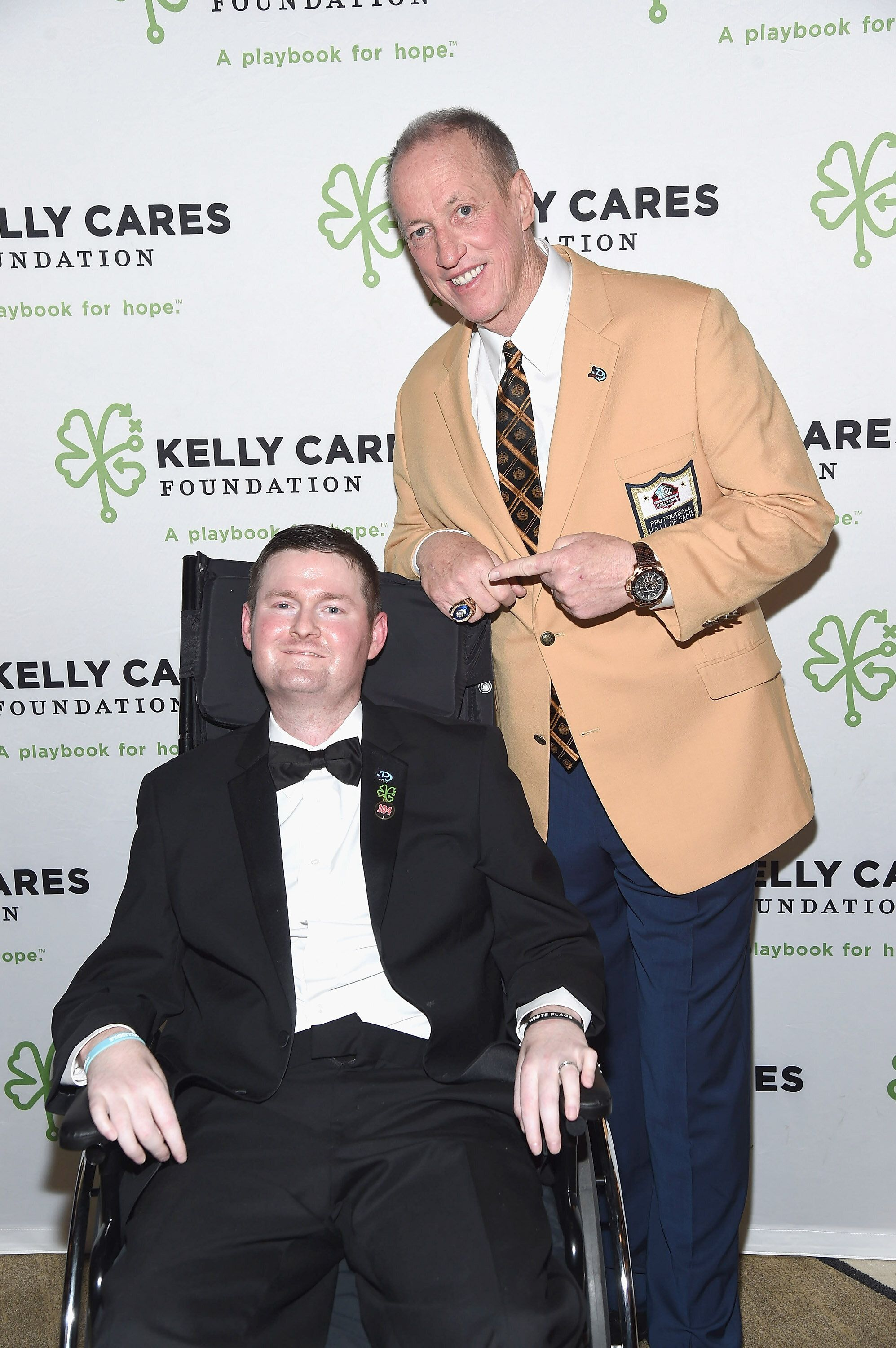 ALS Ice Bucket Challenge co-founder Patrick Quinn is seen with Pro Football Hall of Famer Jim Kelly in 2017. Quinn died