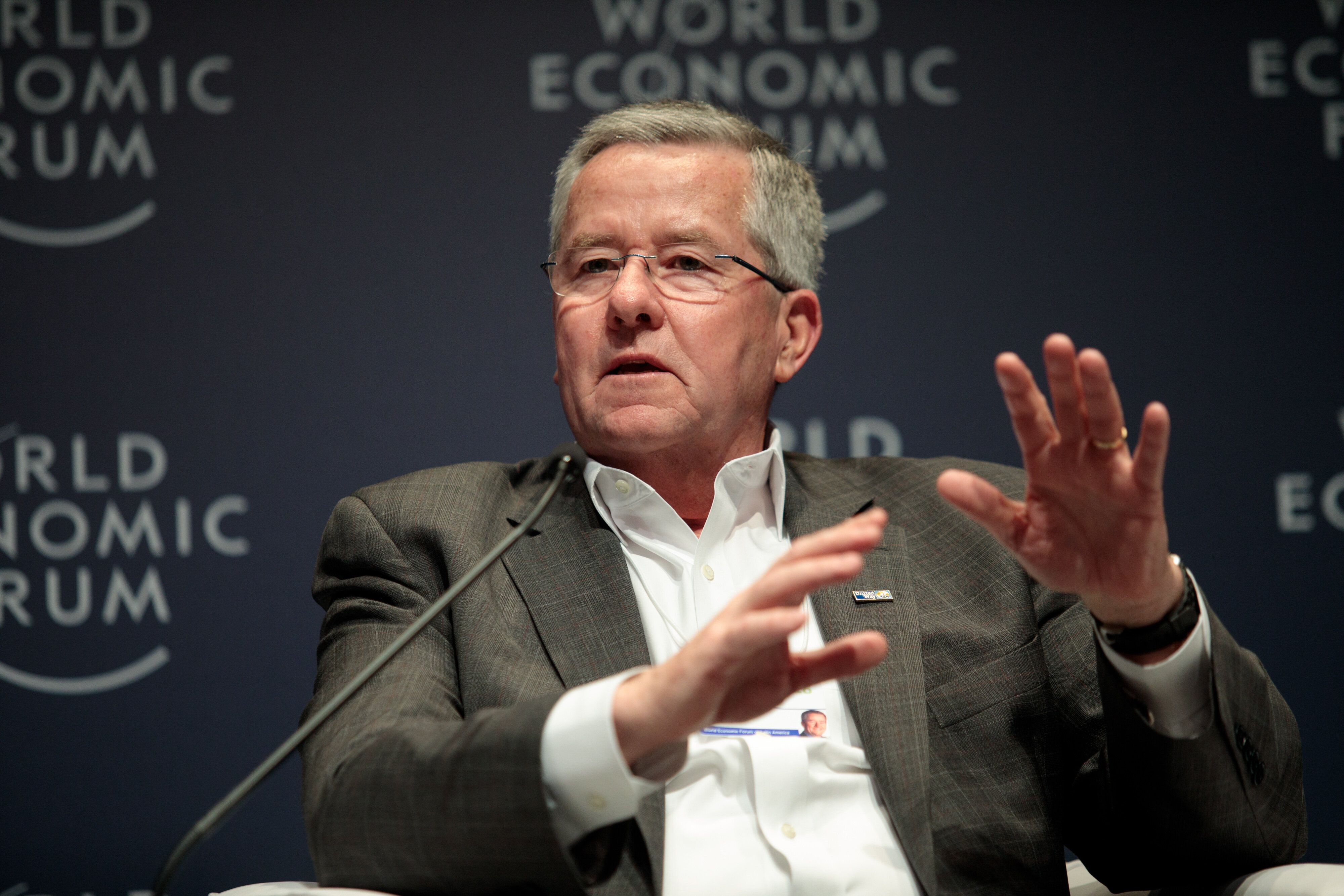 Brian Gallagher, president and chief executive officer of United Way Worldwide, speaking during the 2018 World Economic Forum