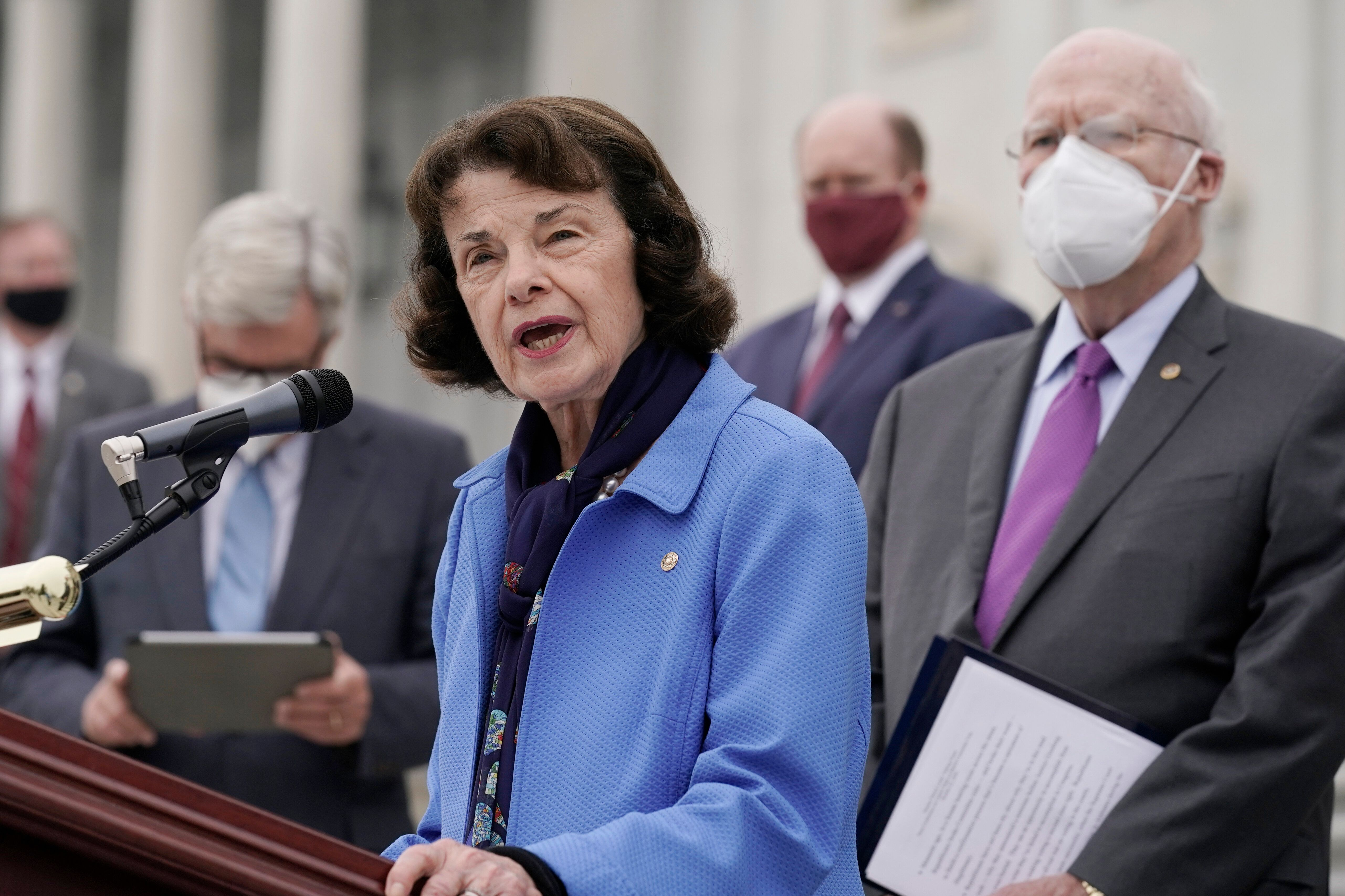 Senate Judiciary Committee ranking member Sen. Dianne Feinstein (D-Calif.) speaks during an Oct. 22, 2020, news conference af