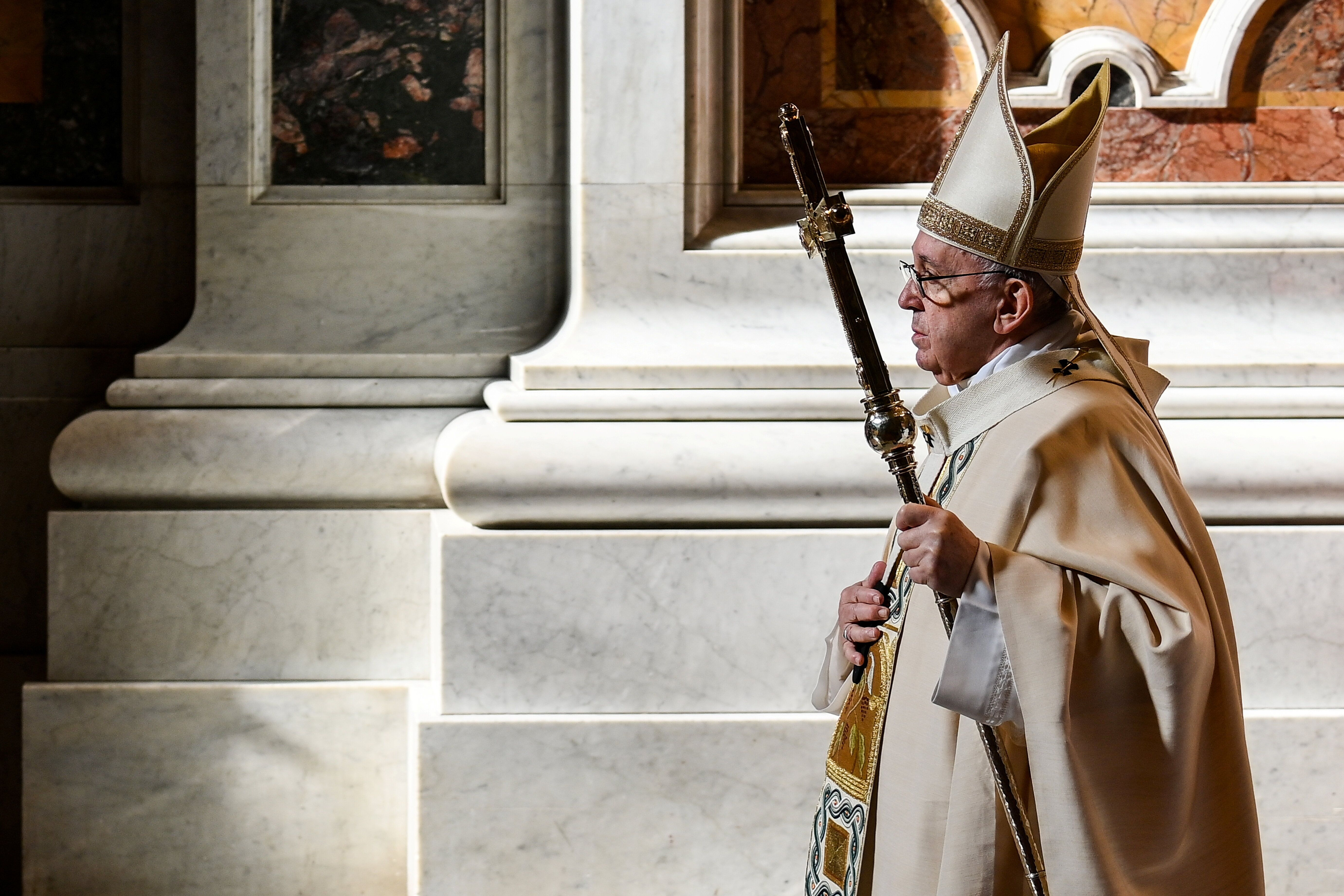 Pope Francis celebrates Mass at St. Peter's Basilica, at the Vatican, November 22, 2020.