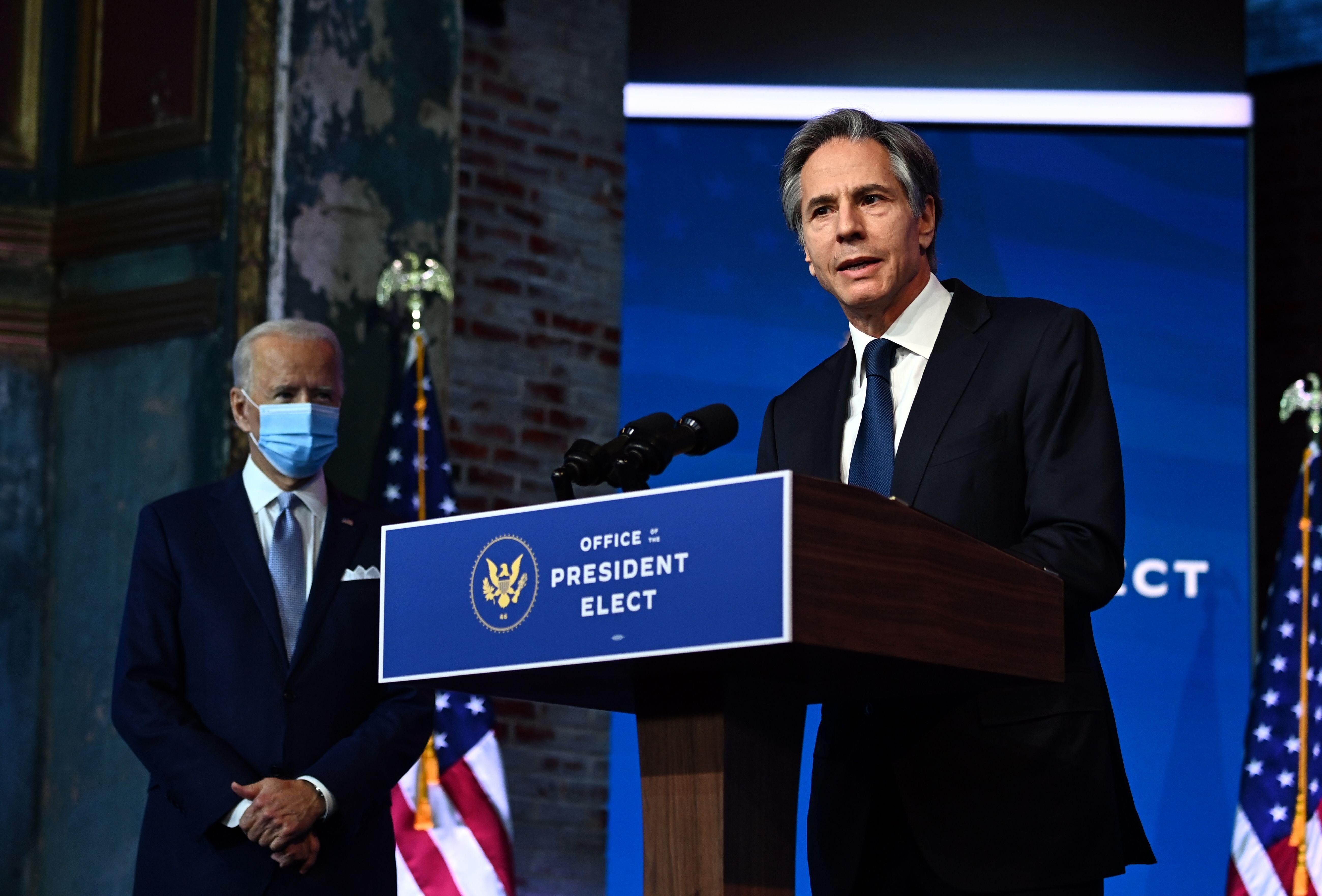 Antony Blinken, right, pictured on Nov. 24, 2020, hasties to Biden going back some 20 years.