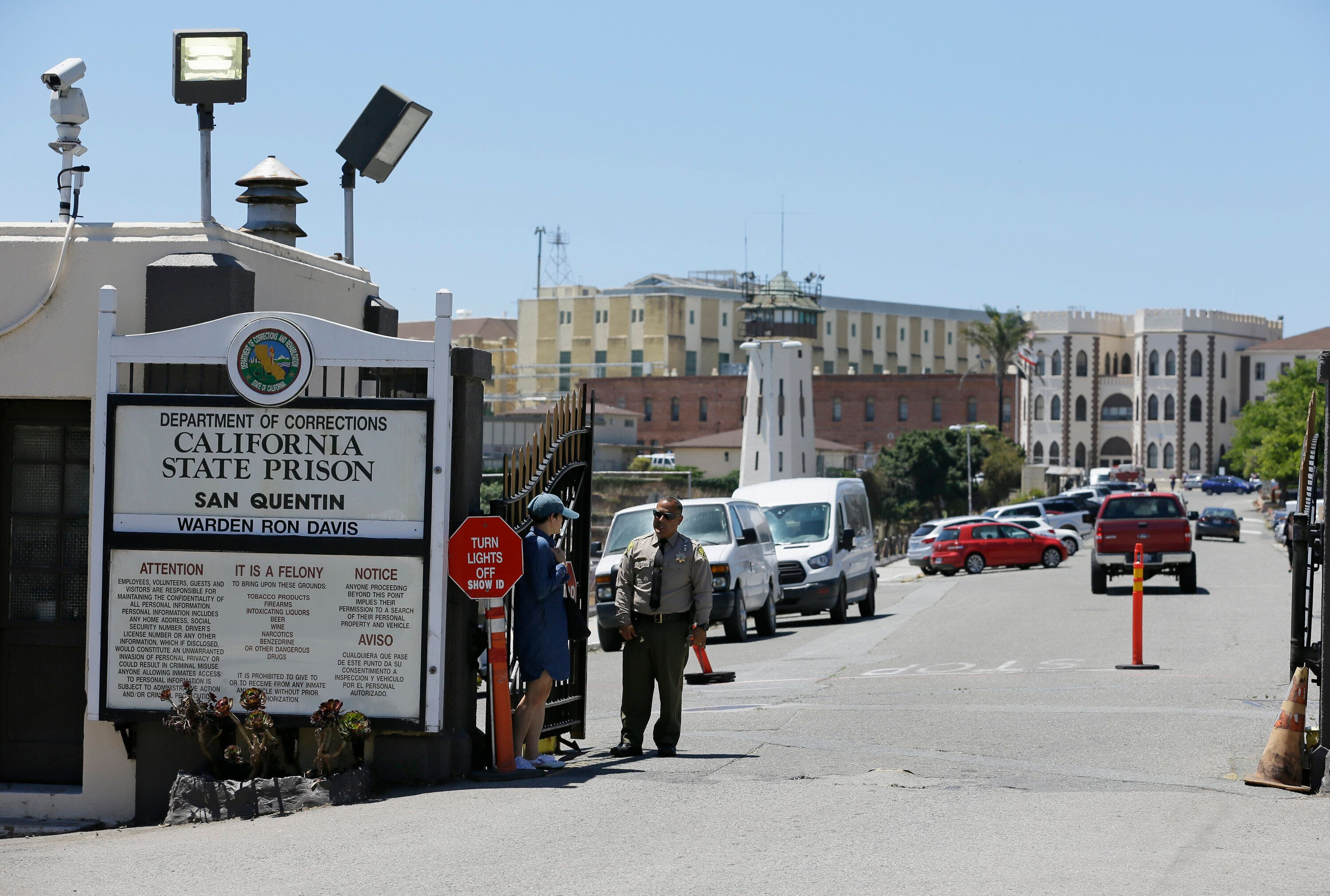 The main entryway leading into San Quentin State Prison in San Quentin, California, is seen. More than 35,000 California