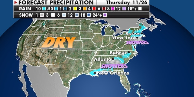 Forecast precipitation for Thanksgiving Day, 2020. (Fox News)