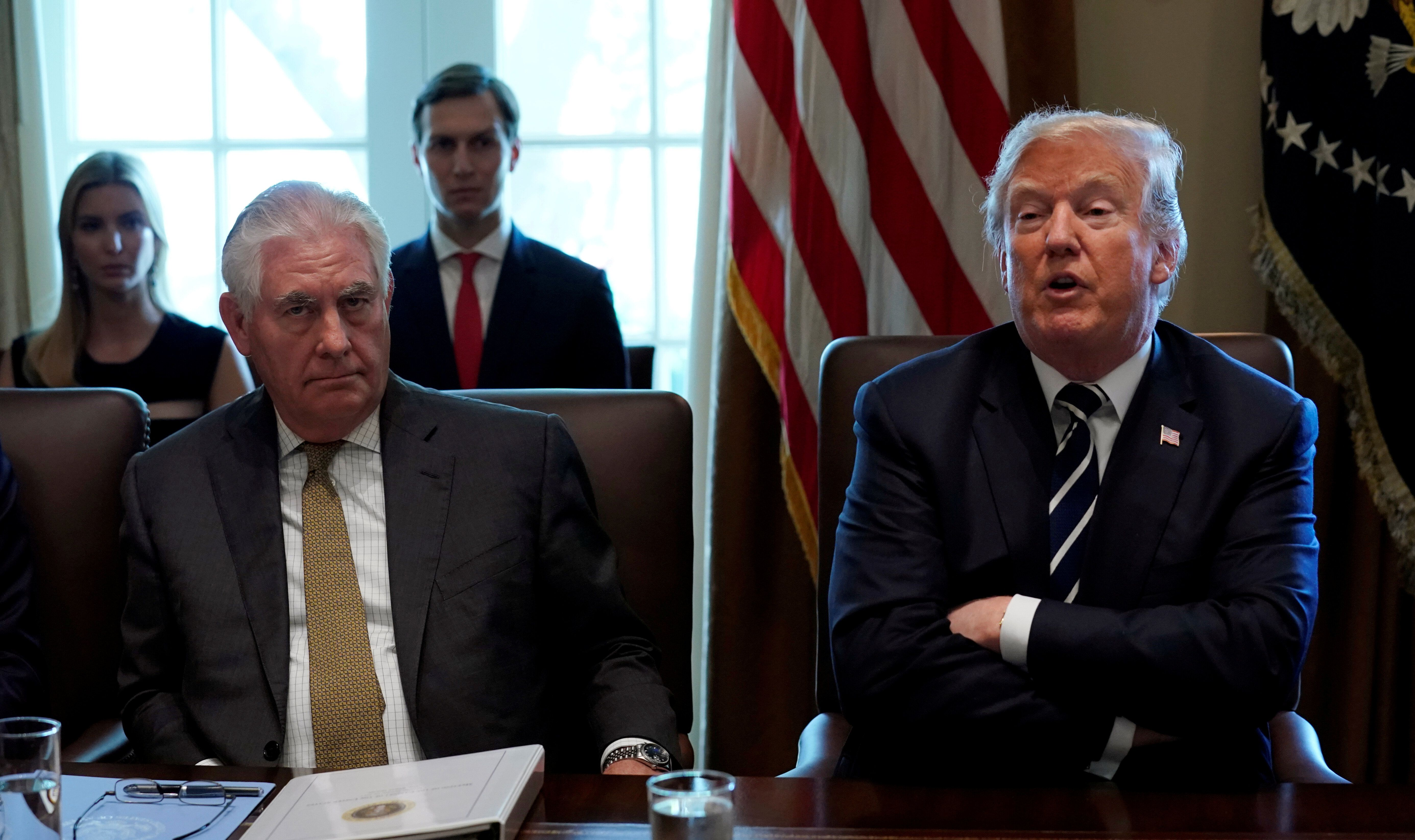 President Donald Trump had little familiarity with his first secretary of state, Rex Tillerson (left), before he appointed hi