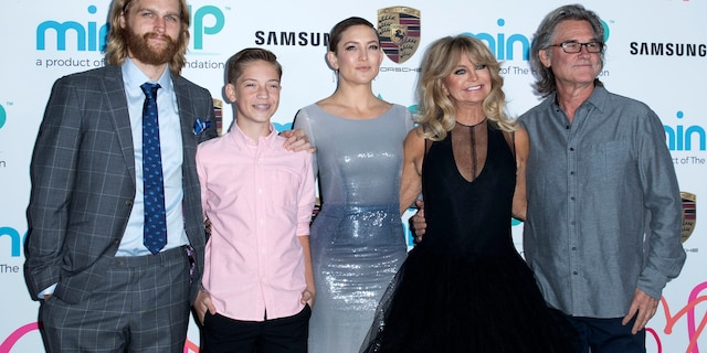 (L-R) Wyatt Russell, Ryder Robinson, Kate Hudson, Goldie Hawn and Kurt Russell. Hudson told People magazine that her parenting style 'came as a surprise to my entire family.'