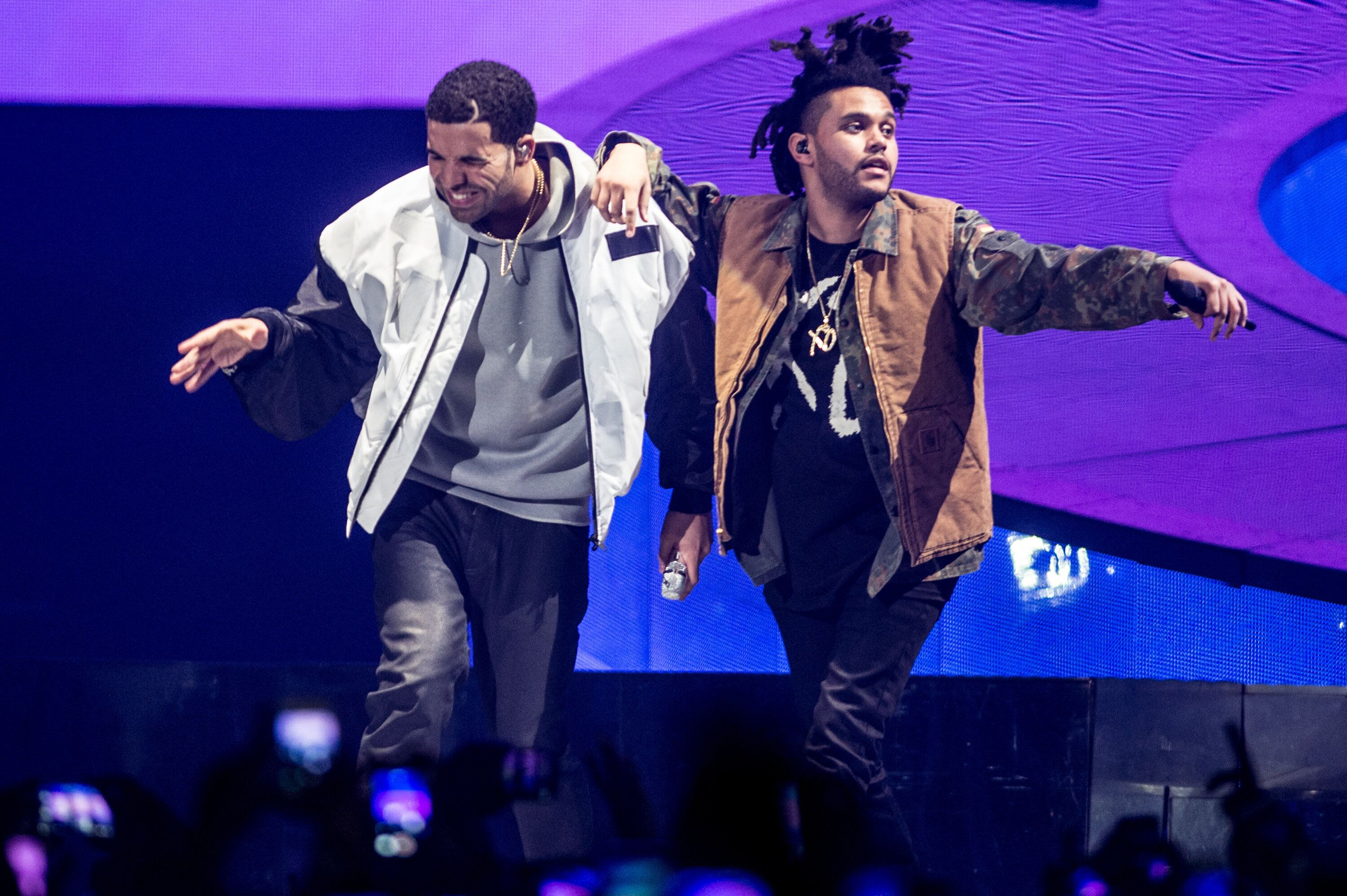 "Drake and The Weeknd perform onstage during Drake's ""Nothing Was the Same"" world tour on March 16, 2014."
