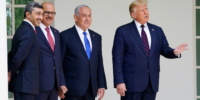 President Donald Trump walks to the Abraham Accords signing ceremony at the White House, Tuesday, Sept. 15, 2020. (AP Photo/Alex Brandon)