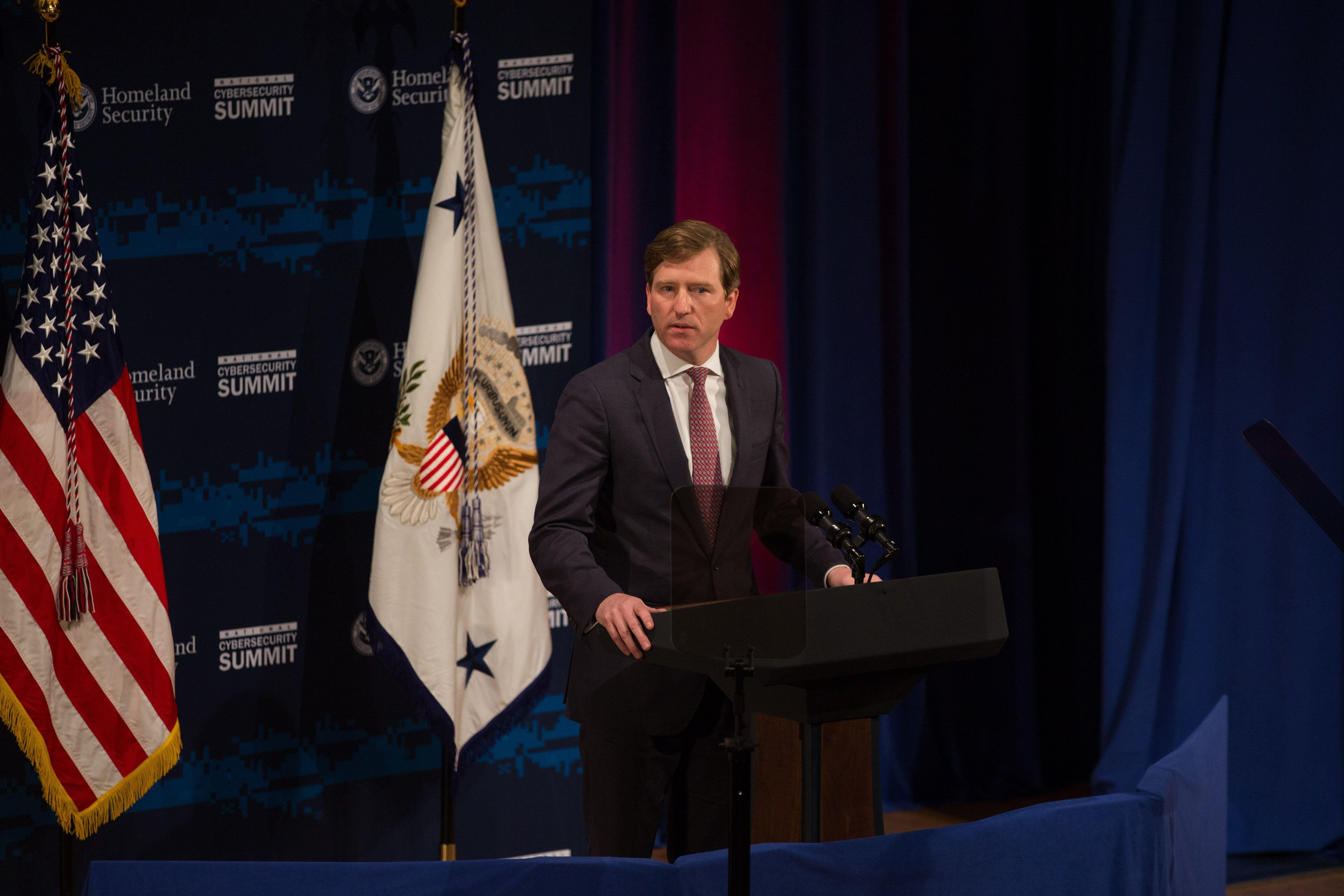 NEW YORK, NY - JULY 31: U.S. Department of Homeland Security Under Secretary Chris Krebs speaks during the Department of Home