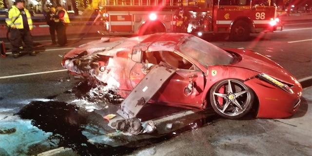 Chicago firefighters say a red Ferrari rented for the weekend crashed on Lake Shore Drive after wiping out at turn.