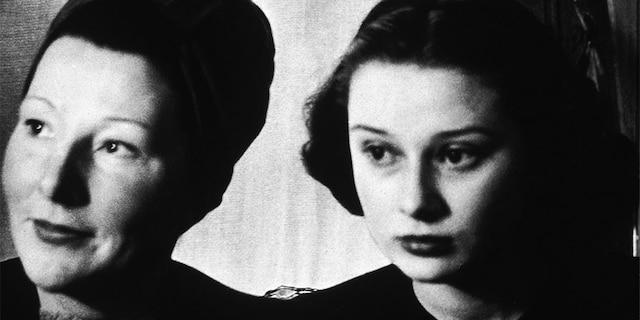 Audrey Hepburn (1929 - 1993) as a teenager with her mother, Dutch baroness Ella Van Heemstra, 1946.