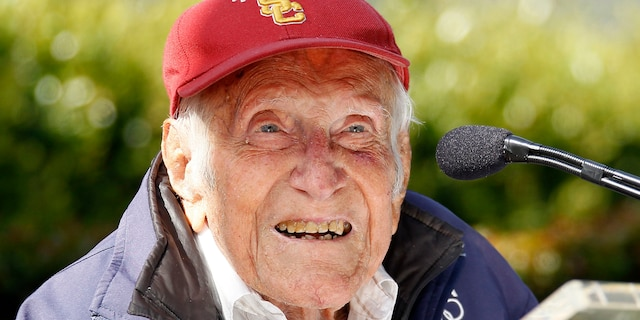 May 9, 2014: Louis Zamperini speaks at a news conference in Pasadena, Calif. where he was announced as grand marshal for the 2015 Tournament of Roses.