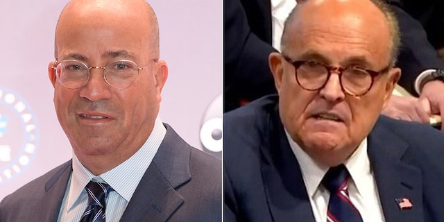 "CNN's Jeff Zucker, left, referred to Rudy Giuliani as a ""useful idiot."""