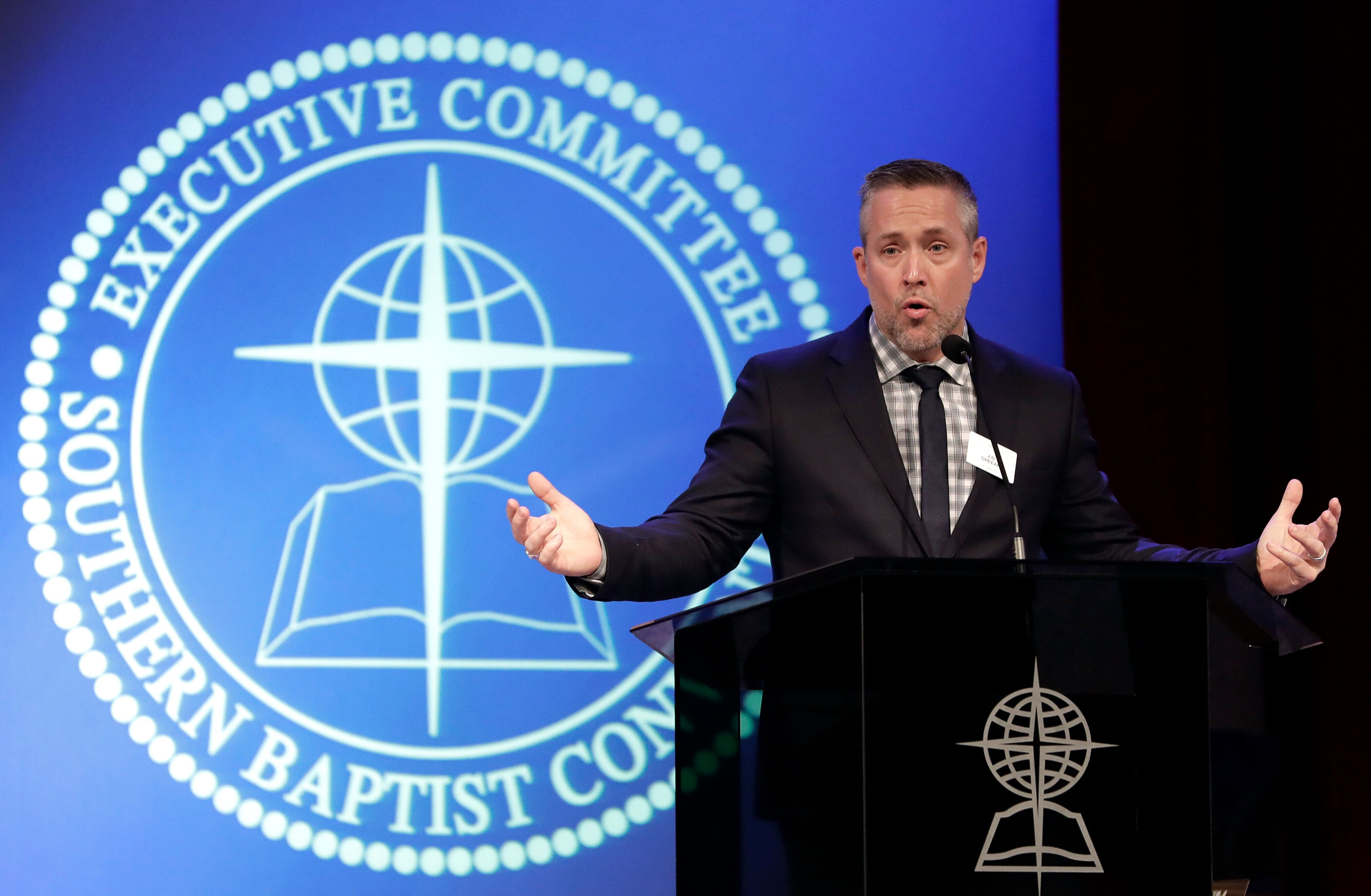 Southern Baptist Convention President J.D. Greear speaks to the denomination's executive committee in Nashville, Tennessee, o