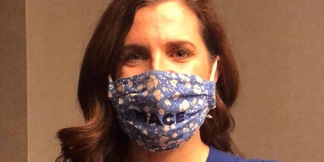 "Rep.-elect Nancy Mace, R-S.C., in one of her signature ""MACE"" masks. (Marisa Schultz/Fox News)"