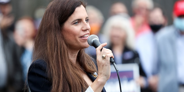 Republican congressional candidate Nancy Mace speaks to the crowd at an event with Sen. Lindsey Graham at the Charleston County Victory Office during Graham's campaign bus tour on Oct. 31, 2020 in Charleston, South Carolina. (Photo by Michael Ciaglo/Getty Images)