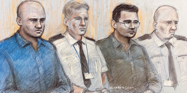 This court artist sketch dated Oct. 6 shows Gheorghe Nica, left, and Eamonn Harrison, right, at the Old Bailey in London. (AP/Elizabeth Cook)