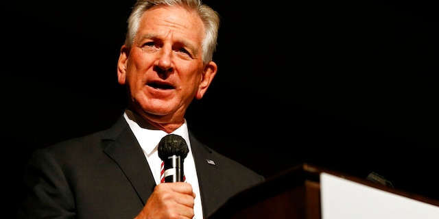 In this July 14, 2020, file photo, Republican U.S. Senate candidate and former Auburn football coach Tommy Tuberville speaks at a campaign event in Montgomery, Ala. (AP Photo/Butch Dill, File)