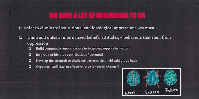 Democracy Prep class slide telling students they should unlearn and challenge beliefs that stem from oppression.