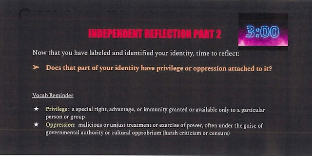 Democracy Prep class slide encouraging students to identify parts of their identity attached to privilege or oppression.