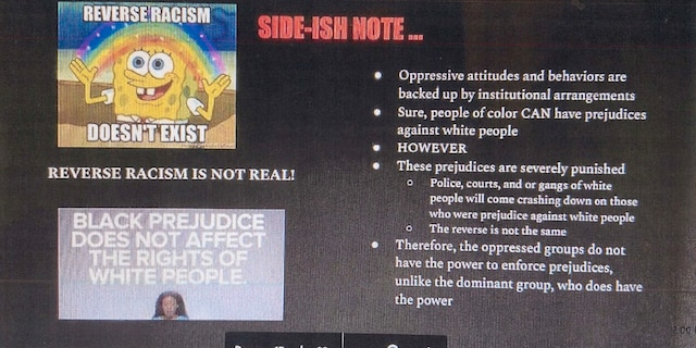 Democracy Prep class instructional material claiming, among other things, that reverse racism doesn't exist.