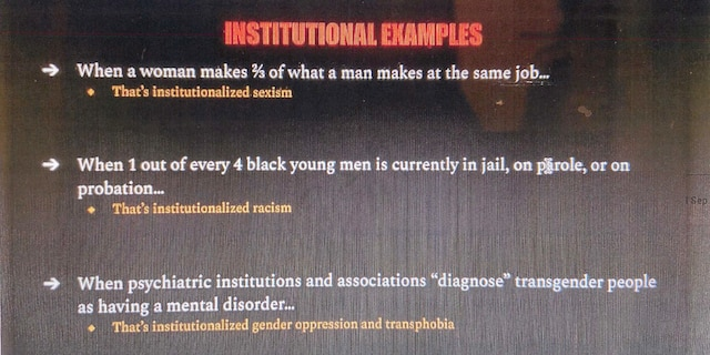 Democracy Prep class slide purporting to show examples of institutional oppression.