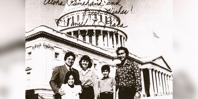 A 10-year-old Kai Kahele is pictured here on a family trip to Washington D.C. with then-Rep. Daniel Akaka, D-Hawaii. Kahele is pictured with his mother Linda, father Gilbert and sister Noelani. Kahele will be just the second native Hawaiian elected to represent Hawaii in Congress after Akaka. (Photo courtesy of Kai Kahele.)