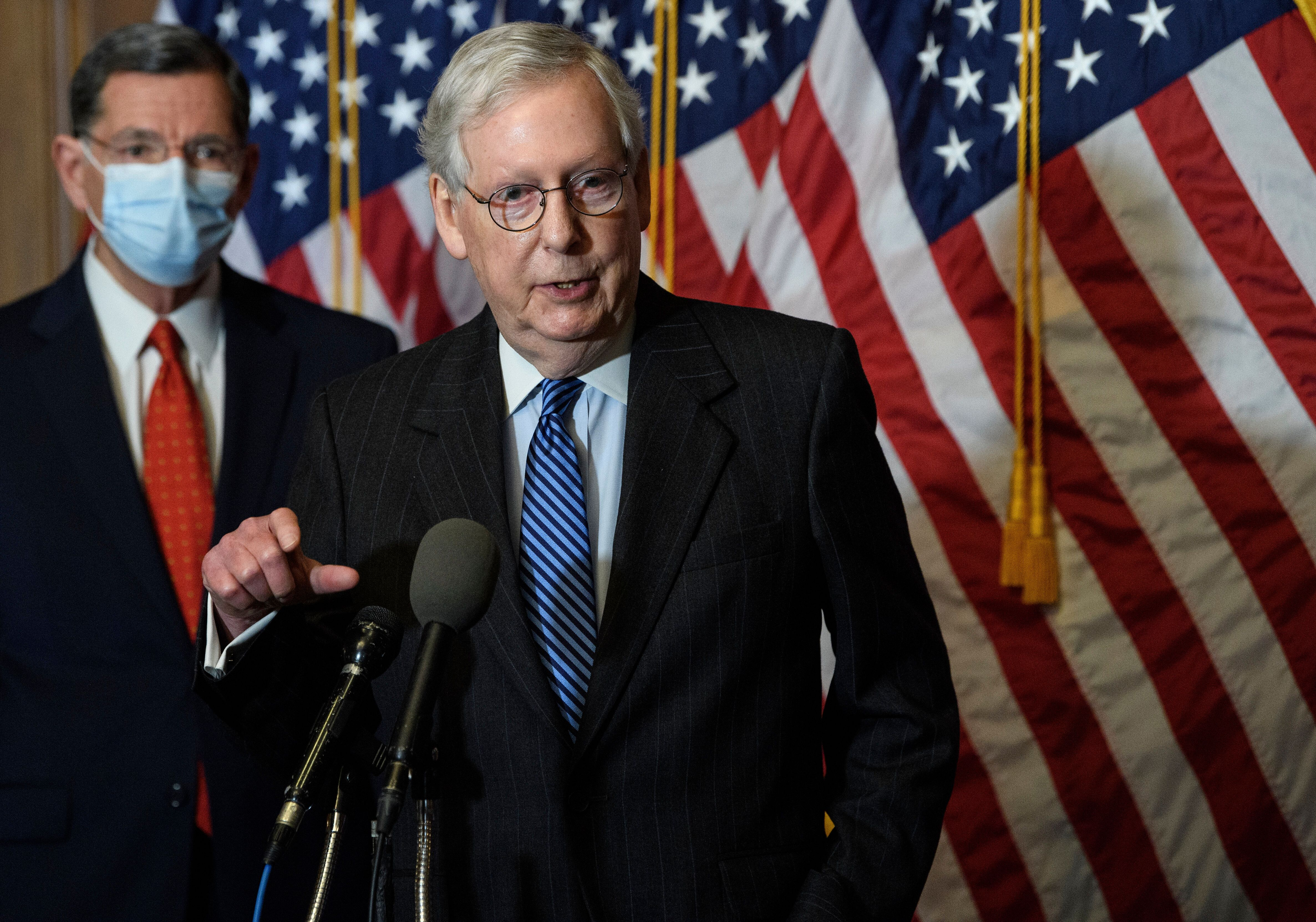 Senate Majority Leader Mitch McConnell of Ky., speaks during a news conference with other Senate Republicans on Capitol Hill