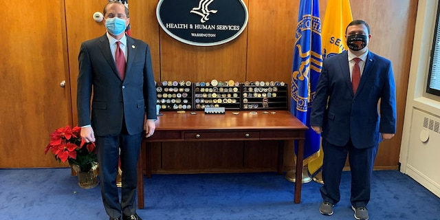 Xavier DeGroat, a 30-year-old autism advocate, met with Health and Human Services Secretary Alex Azar in 2020 to talk about the stress the coronavirus pandemic is having on people with autism.