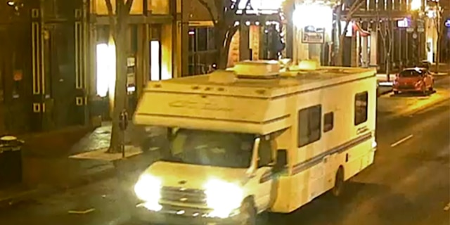 Surveillance footage showing the RV involved in the explosion.