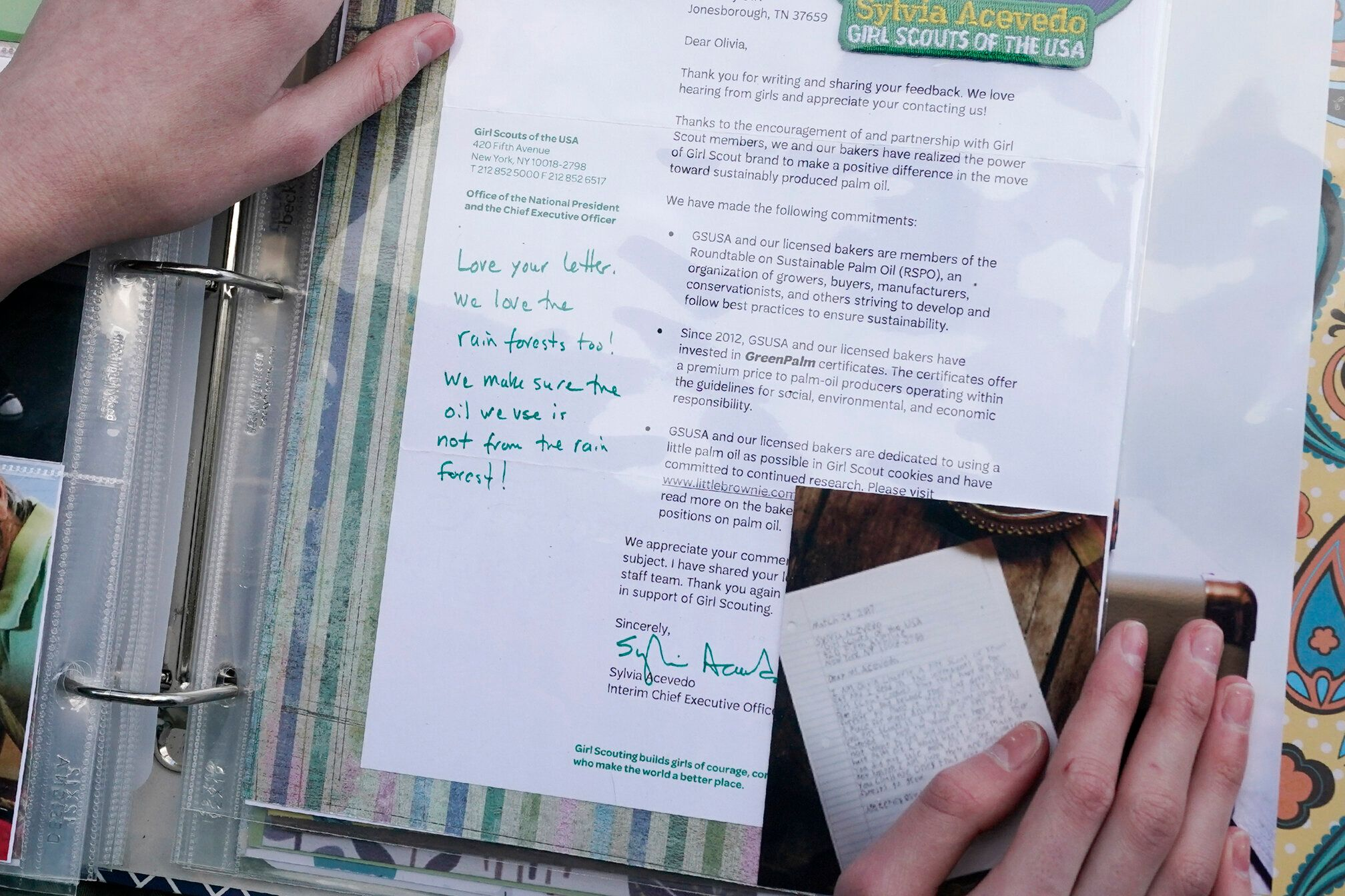 Olivia Chaffin displays a 2017 response she received from the chief executive officer of the Girl Scouts to her concerns with