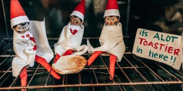 The trio of elves were in for quite a surprise when Matt Hightower turned on the oven last week.(Chelsea Hightower)