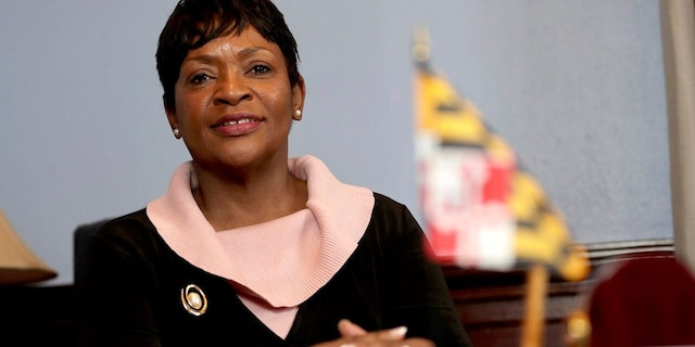 FILE - In this Thursday, Jan. 2, 2020 photo, Maryland House Speaker Adrienne Jones is seen during an interview with The Associated Press in Annapolis, Md. (AP Photo/Julio Cortez, File)