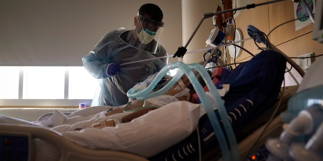 A doctor tends to a COVID-19 patient at Providence Holy Cross Medical Center in the Mission Hills section of Los Angeles on Dec. 22, 2020. (AP Photo/Jae C. Hong, File)