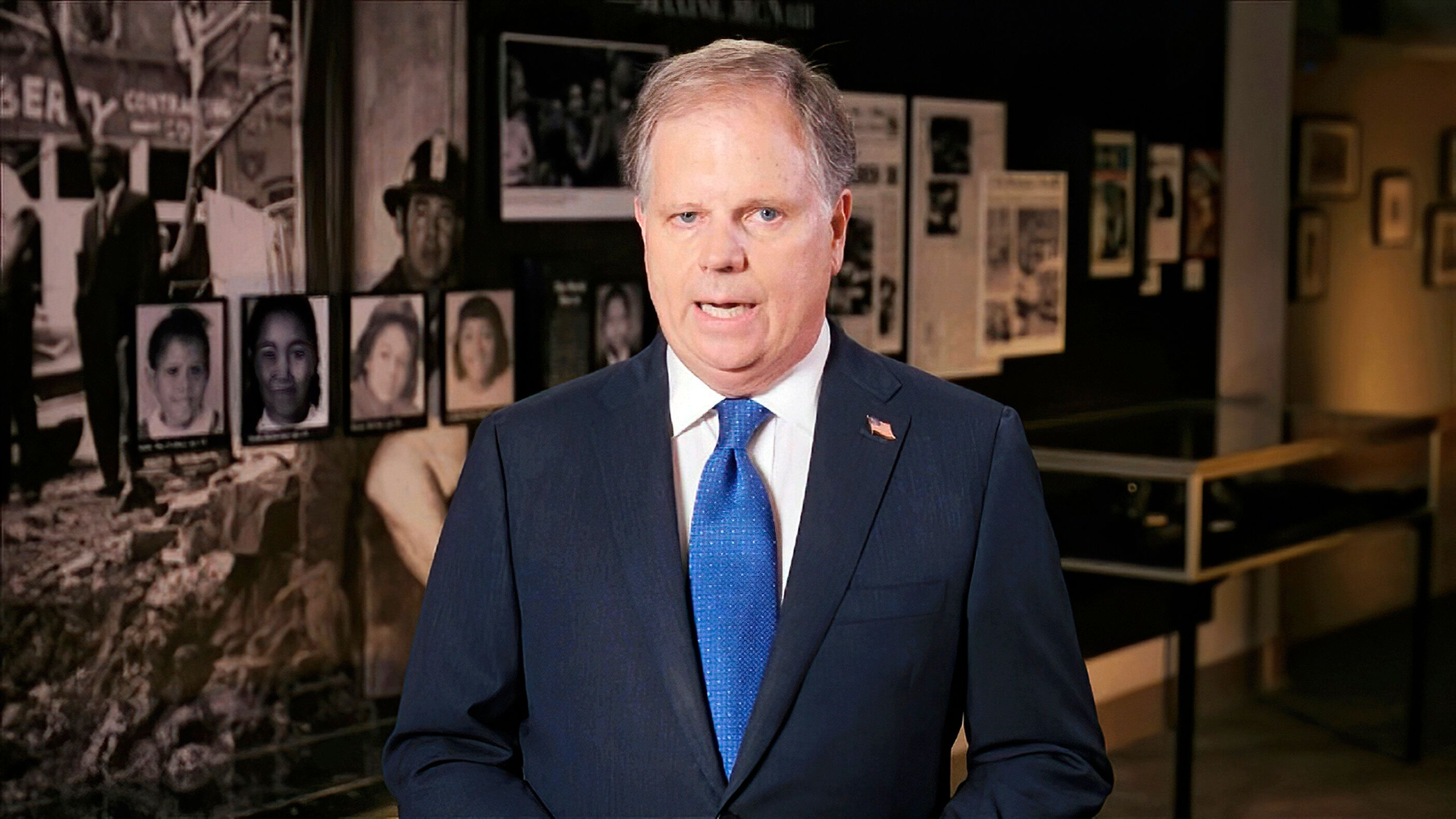 In this image from video, then-Sen. Doug Jones (D-Ala.) speaks during the first night of the Democratic National Convention i