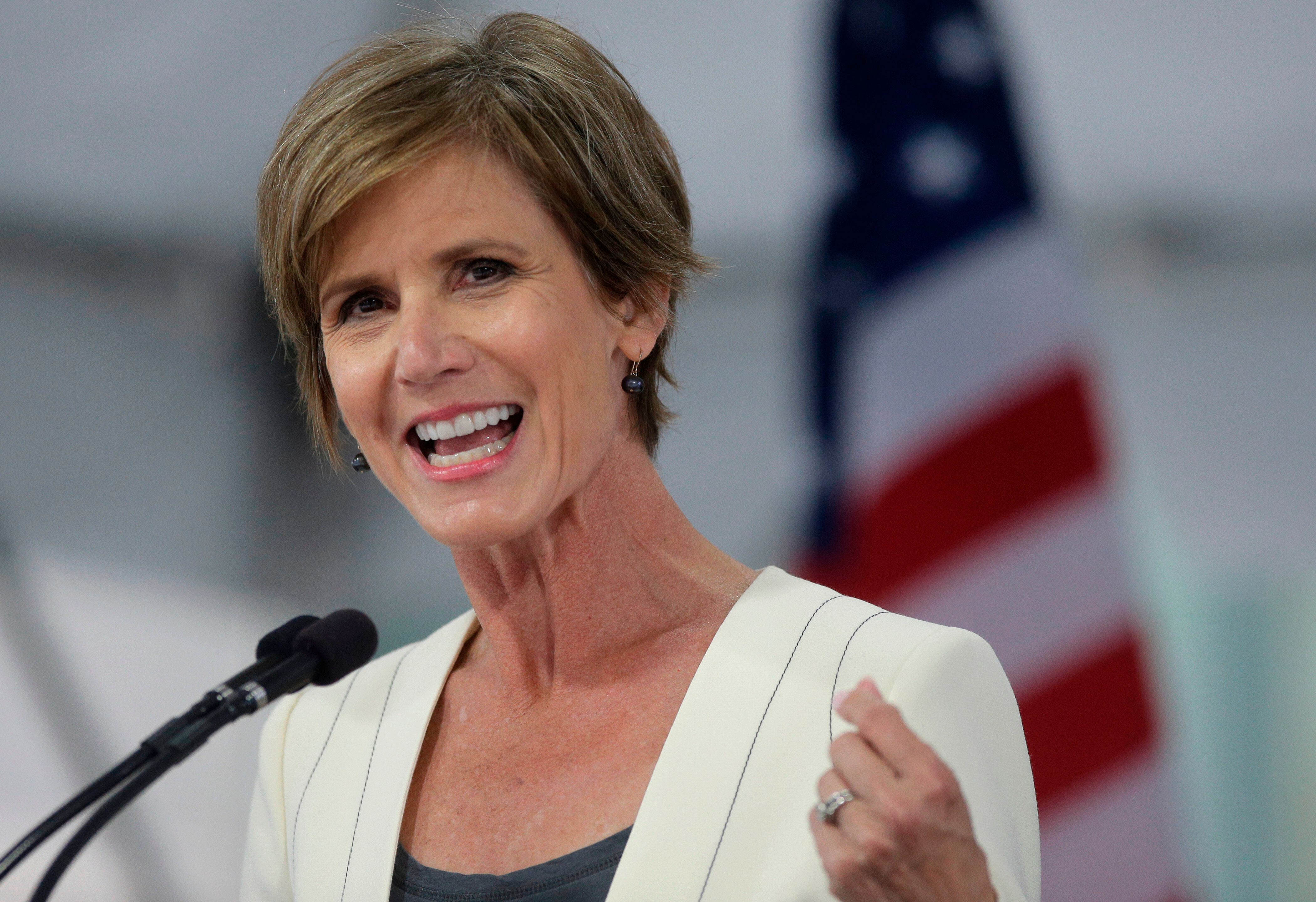 In this May 24, 2017, file photo, former deputy Attorney General Sally Yates speaks at Harvard Law School Class Day in Cambri