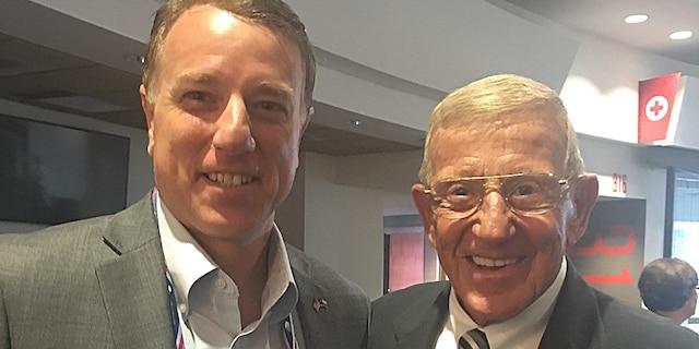 Rep. Pat Fallon, R-Texas, with his former Notre Dame football coach Lou Holtz.(Photo courtesy of Pat Fallon campaign)