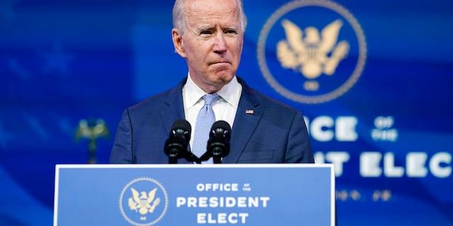 President-elect Joe Biden speaks at The Queen theater in Wilmington, Del., Jan. 6. (AP Photo/Susan Walsh)