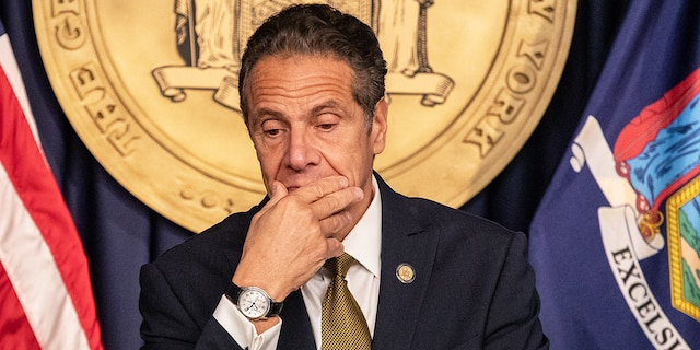 Andrew Cuomo, governor of New York, pauses while speaking during a news conference in New York, U.S., on Monday, Oct. 5, 2020. Photographer: Jeenah Moon/Bloomberg via Getty Images