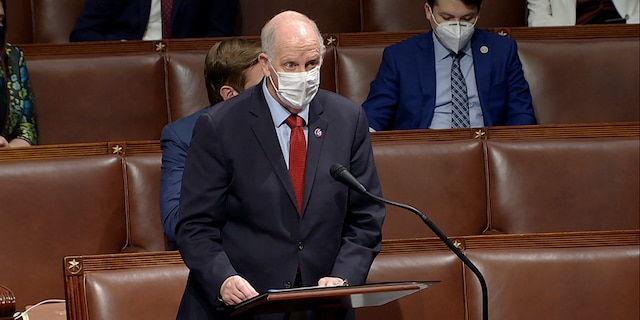 In this image from video, Rep. Tom O'Halleran, D-Ariz., speaks as the House reconvenes to debate the objection to confirm the Electoral College vote from Arizona, after protesters stormed into the U.S. Capitol on Wednesday, Jan. 6, 2021. (House Television via AP)