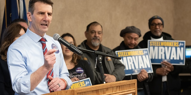 Rep. Frank Mrvan, D-Ind., campaigning with steelworkers. (Photo provided by Frank Mrvan campaign)