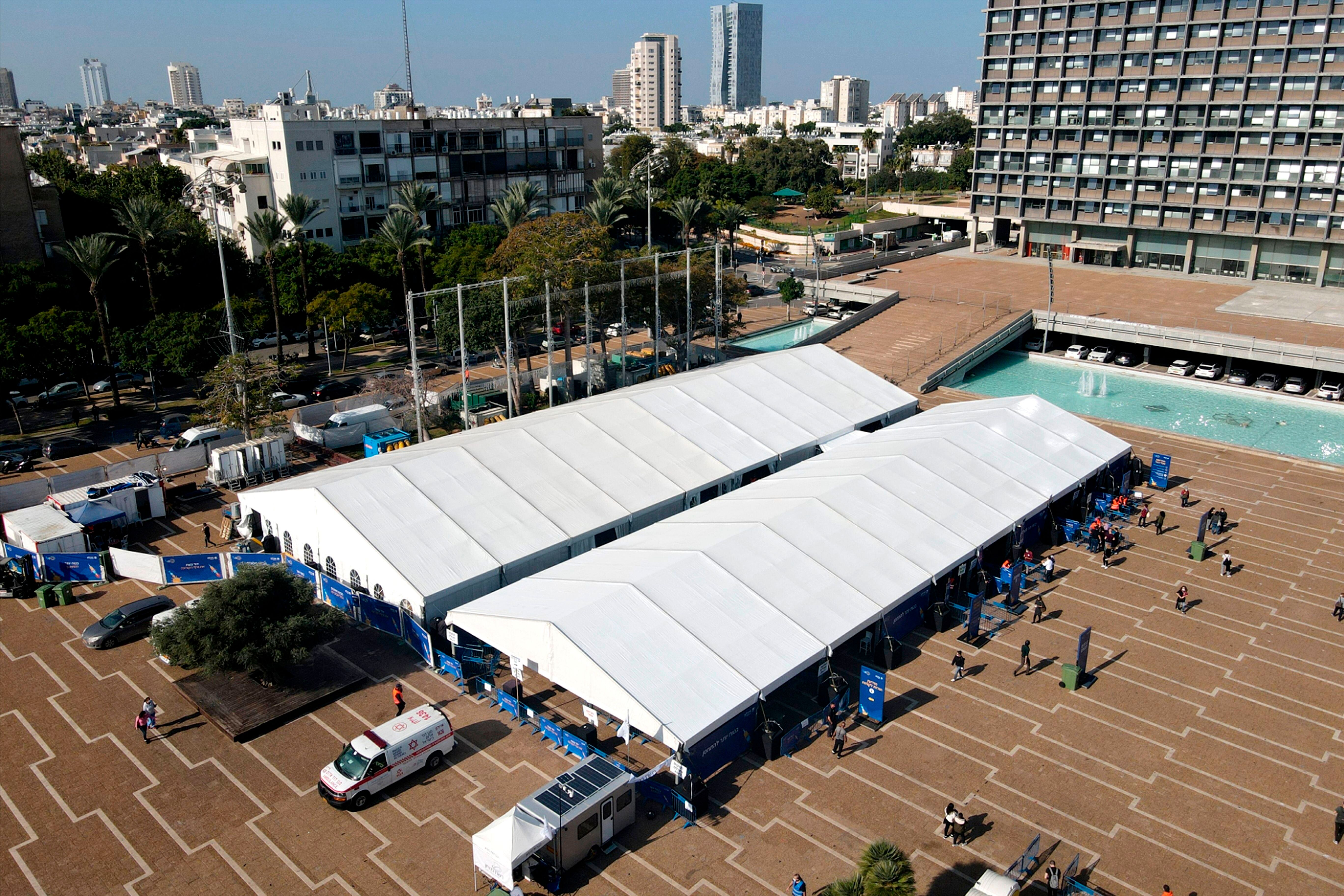 A large vaccination centre open by the Tel Aviv-Yafo Municipality and Tel Aviv Sourasky Medical Center pictured on December 3