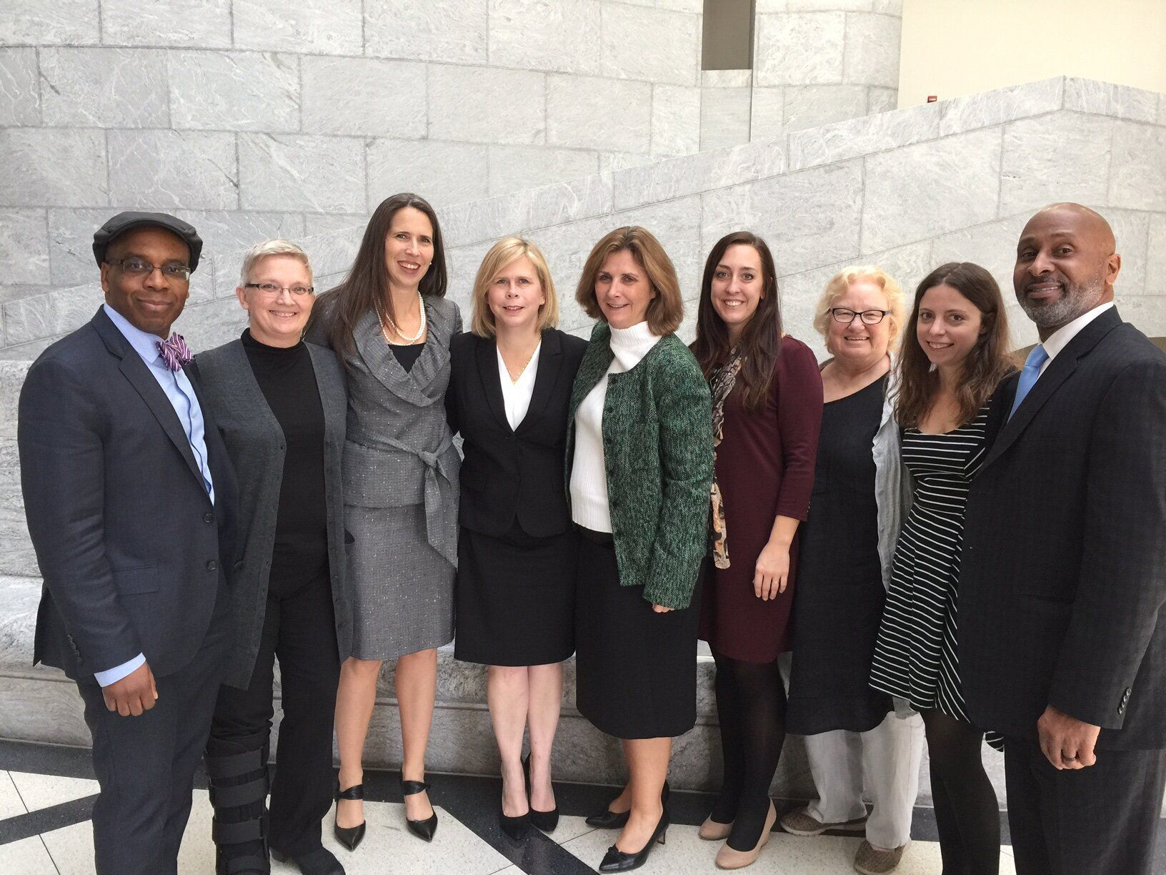 Lisa Montgomery's legal team, pictured in 2016. Kelley Henry is fourth from the left. Her co-counsel,Amy Harwell, is st