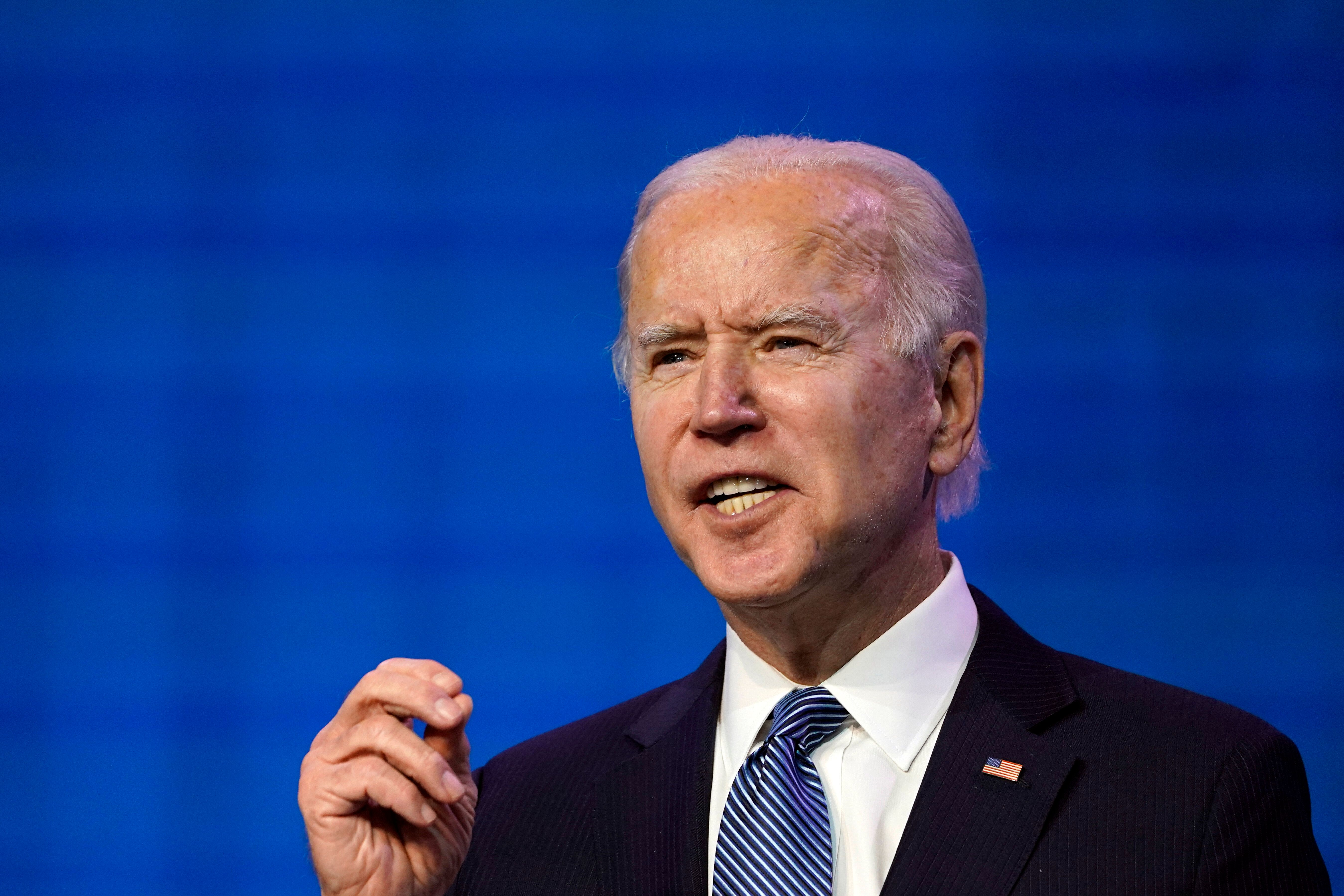 President-elect Joe Biden speaks during an event at The Queen theater in Wilmington, Del., Thursday, Jan. 7, 2021, to announc