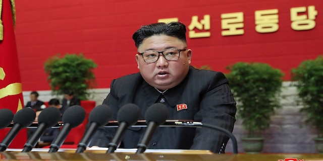 North Korean leader Kim Jong Un attends a ruling party congress in Pyongyang, North Korea, on Thursday. (Associated Press)